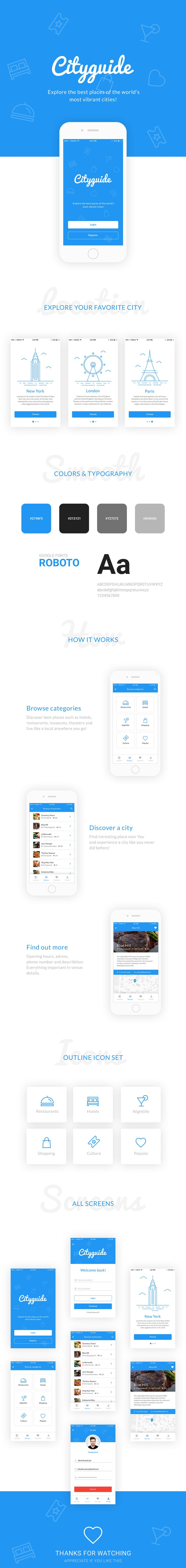 Cityguide Mobile App Template includes 7 well-layered screens. Cityguide can be very helpful if you're planning create great looking mobile app.