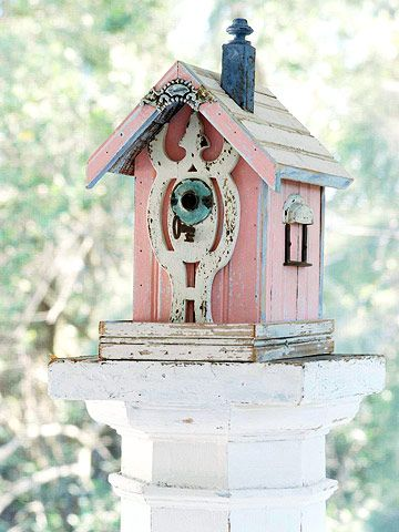 Rustic Accessories. Darling Pink Bird House: reclaimed wood scraps and hardware help create this embellished bird house. bhg