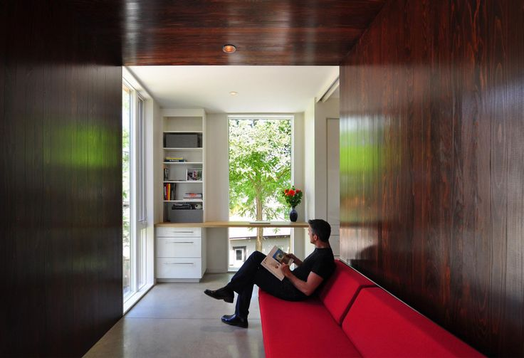 Architecture, Fetching Contemporary Compact Nexus House By Johnsen Schmaling Architects Featuring Red Sofa, Wooden Wall, Porcelain Floor And Wall Cabinet: Stunning Square Home Architecture with Contemporary Design