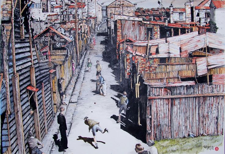 """""""The Cricket Match"""" - Pen and watercolour (594 x 420mm). This image I really enjoyed doing as it showed kids playing in a back alley in the depression years in Sydney. No matter how hard it got, there was always cricket."""