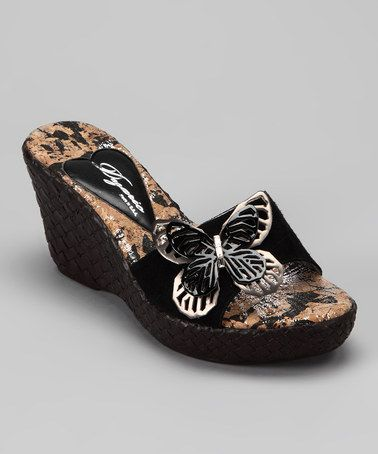 Take a look at this Black Fly Wedge Sandal by Dezario on zulily today