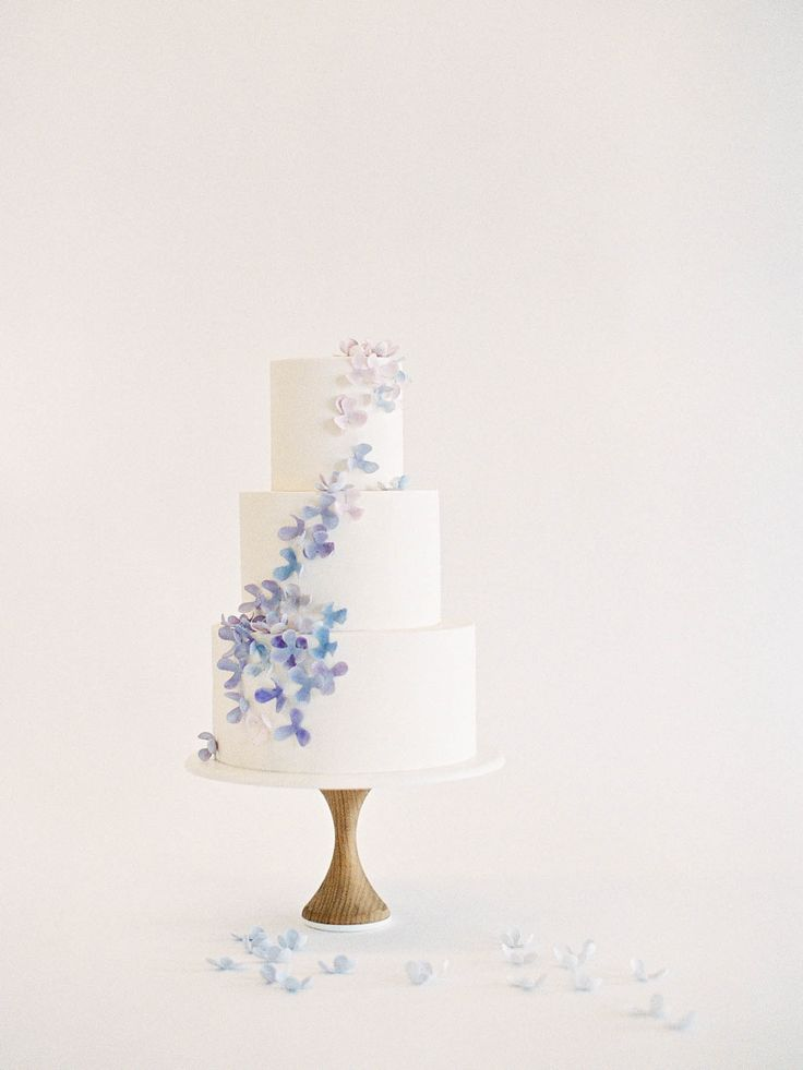 Hydrangea Cake, 1 of 10 Delicate Wedding Cakes  by Nine Cakes & Jen Huang   Cape Cod Preppy Blue and Violet Hydrangea Petals Cake