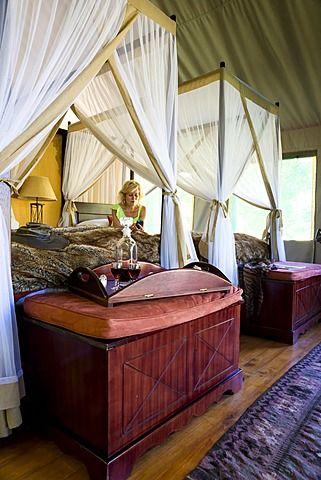 Interior of luxury safari tent, Botlierskop Game Lodge, Mosselbay, South Africa…
