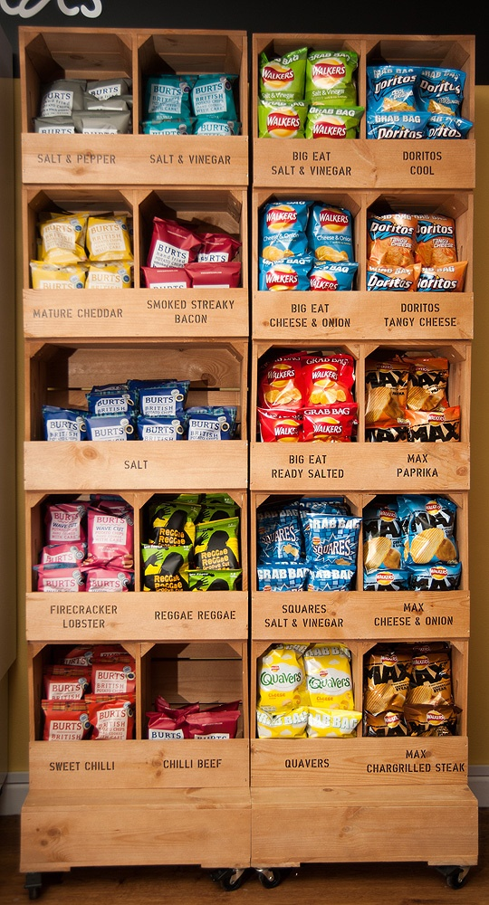 Crate display idea. Use wood with stamps or chalkboard paint to label.