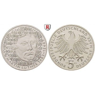 Bundesrepublik Deutschland, 5 DM 1983, Luther, G, PP, J. 434: Kupfer-Nickel-5 DM 1983 G. Luther. J. 434; Polierte Platte 9,00 € #coins