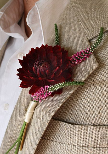 red dahlia boutonniere by dandy bread and candy, via Flickr