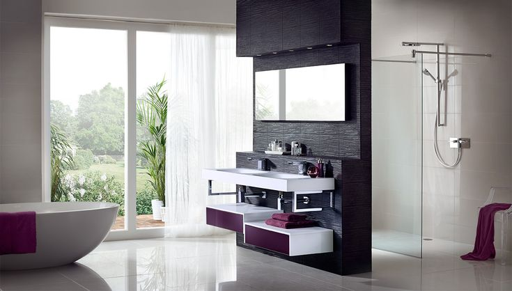 Geo integra with chrome brackets is the ultimate in boutique chic with spacious geo store drawers in a combination of crisp white gloss and vibrant aubergine gloss #geo #bathroomfurniture #myutopia