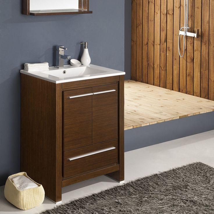 "Fresca Allier 24"" Wenge Brown Modern Bathroom Vanity w/ Mirror"