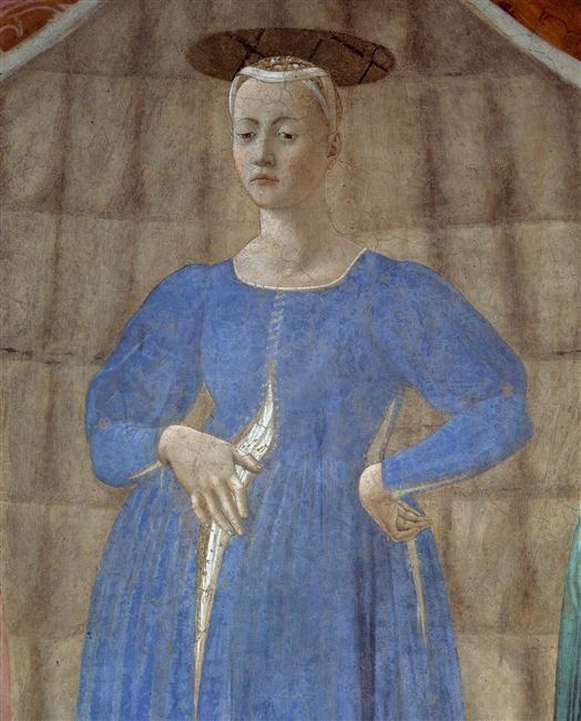 Piero della Francesca | Madonna del Parto (detail) 1467 Detached fresco, 260 x 203 cm Chapel of the cemetery, Monterchi (Arezzo)
