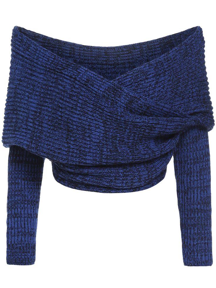 Jersey cuello barco crop -azul 19.31