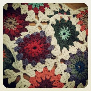 Sunbeam granny square crochet blanket.