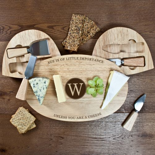 Personalised Classic Wooden Cheese Board Set - yourgifthouse