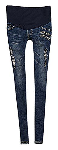 USR Womens Dark Distressed Zip Detail Secret Fit Belly Maternity Skinny Jeans Blue 10 ManufacturerXXL