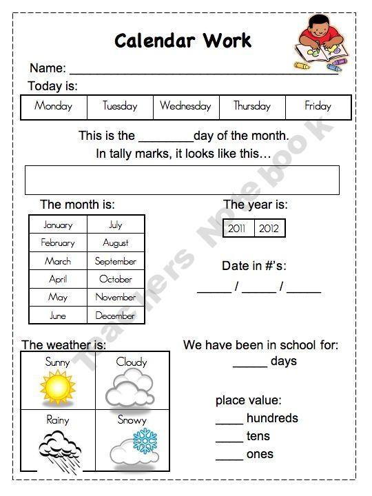 Kindergarten Calendar Folders : Best edu morning work calendar images on pinterest
