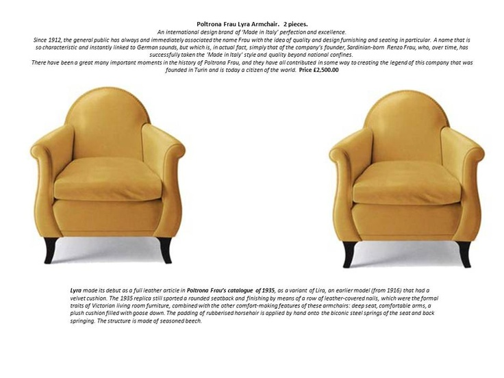 Poltrona Frau Lyra Armchair.  2 pieces.  An international design brand of 'Made in Italy' perfection and excellence.Since 1912, the general public has always and immediately associated the name Frau with the idea of quality and design furnishing and seating in particular. Price £2,500.00 each. contact arbalaga@me.com