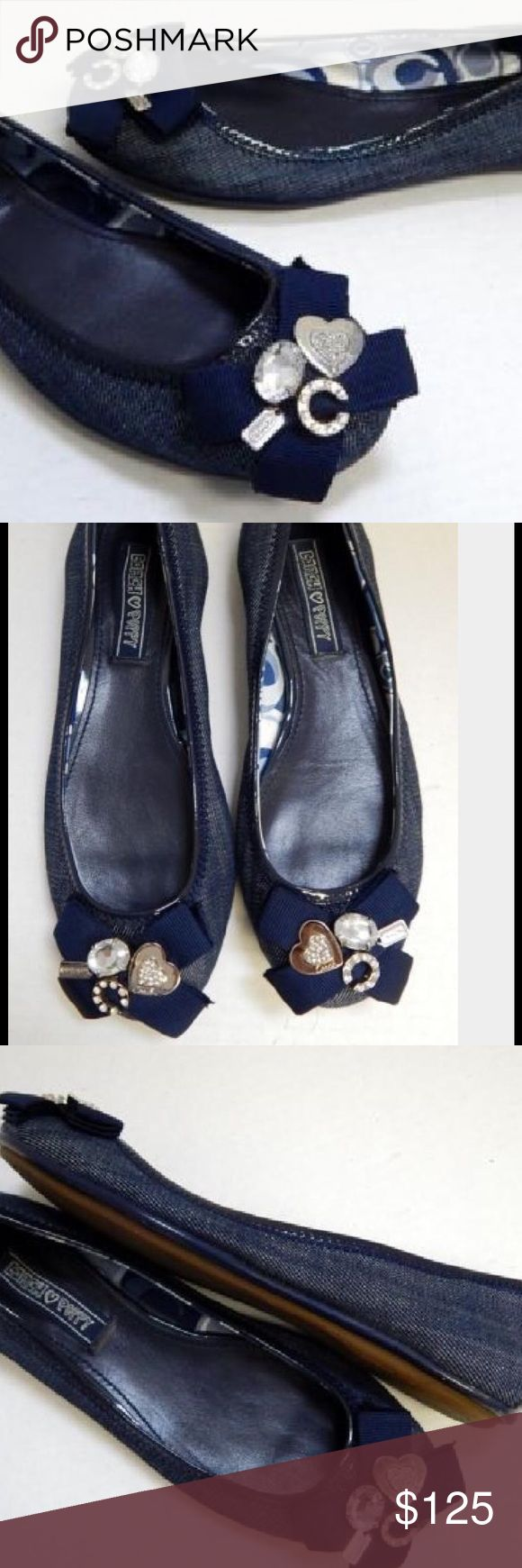Coach poppy blue denim ballet flats Coach poppy blue denim ballet flats gently worn. One tiny stud missing from c Coach Shoes Flats & Loafers
