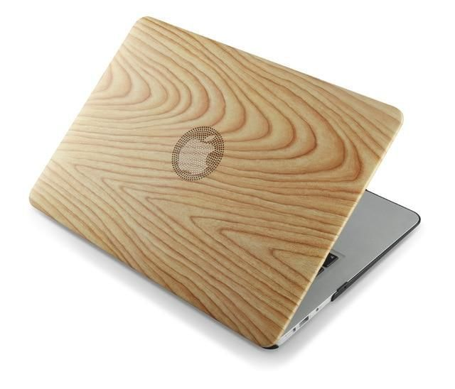 Wood Print Leather Case Macbook In 2020 Leather Case Printed Leather Macbook