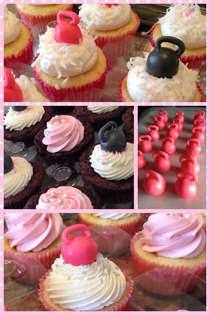 Kettlebell baby shower cupcakes for one very fit momma