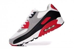 Homme Chaussures Nike Air Max 90 Blanche Grise Noir Rouge