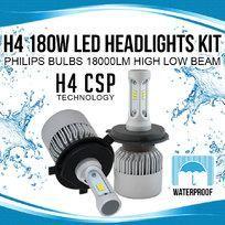 H4 180W LED Headlights Kit Philips Bulbs 18000LM High Low Beam vs Halogen Xenon