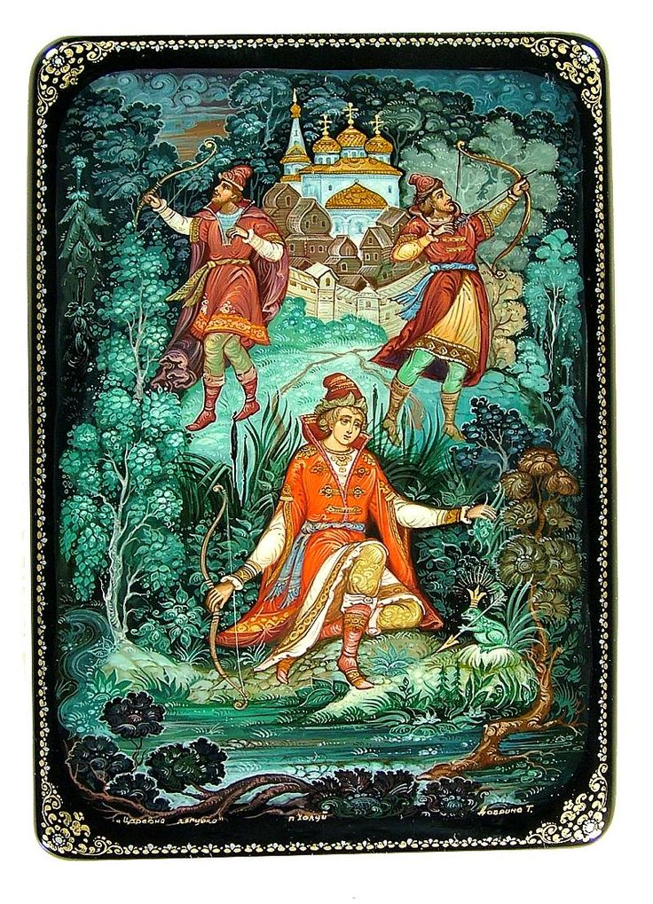 Russian lacquer miniature from the village of Kholuy. Characters of the traditional tale 'The Frog Princess'