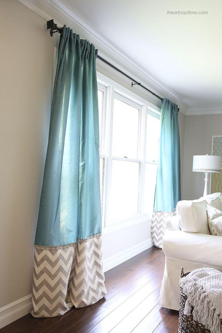 DIY back tab curtains with ruffled trim