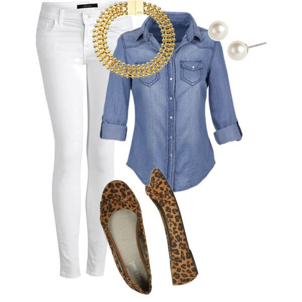 """Chambray and White Jeans"" by marybethschultz on Polyvore"
