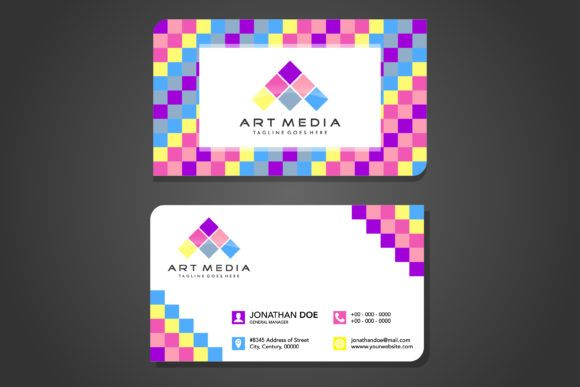 Square Pattern Business Card 1