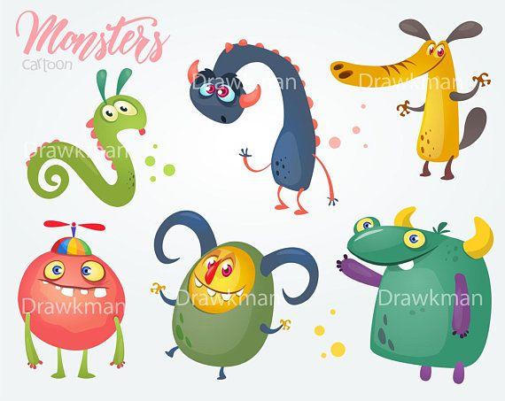 Halloween Cartoon Monsters Set Cartoon Funny Monsters
