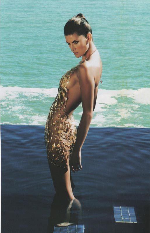 Sensual Gold Dress Design Fatima Cavalieri Finalist AngloGold Ashanti Auditions 2006. Top Model Isabella Fiorentino. South Africa