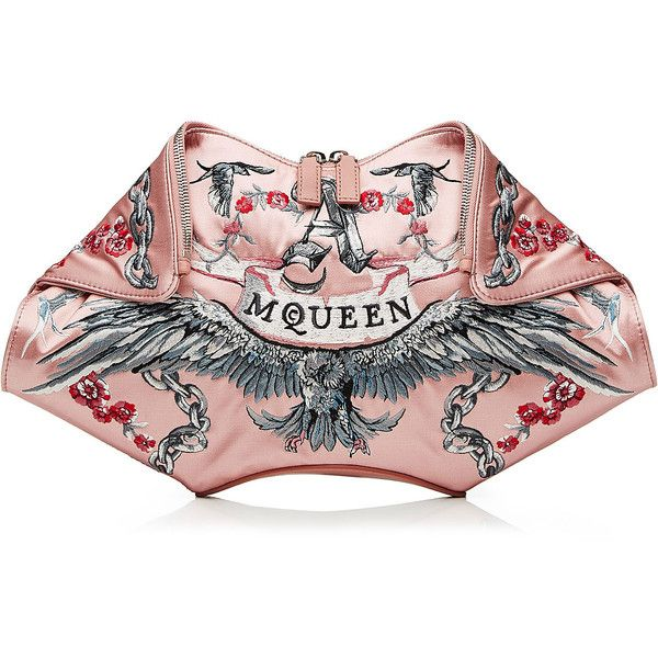 Alexander McQueen De Manta Embroidered Silk Clutch (€1.720) ❤ liked on Polyvore featuring bags, handbags, clutches, rose, rose handbag, alexander mcqueen clutches, embroidered handbags, alexander mcqueen handbags и pink clutches