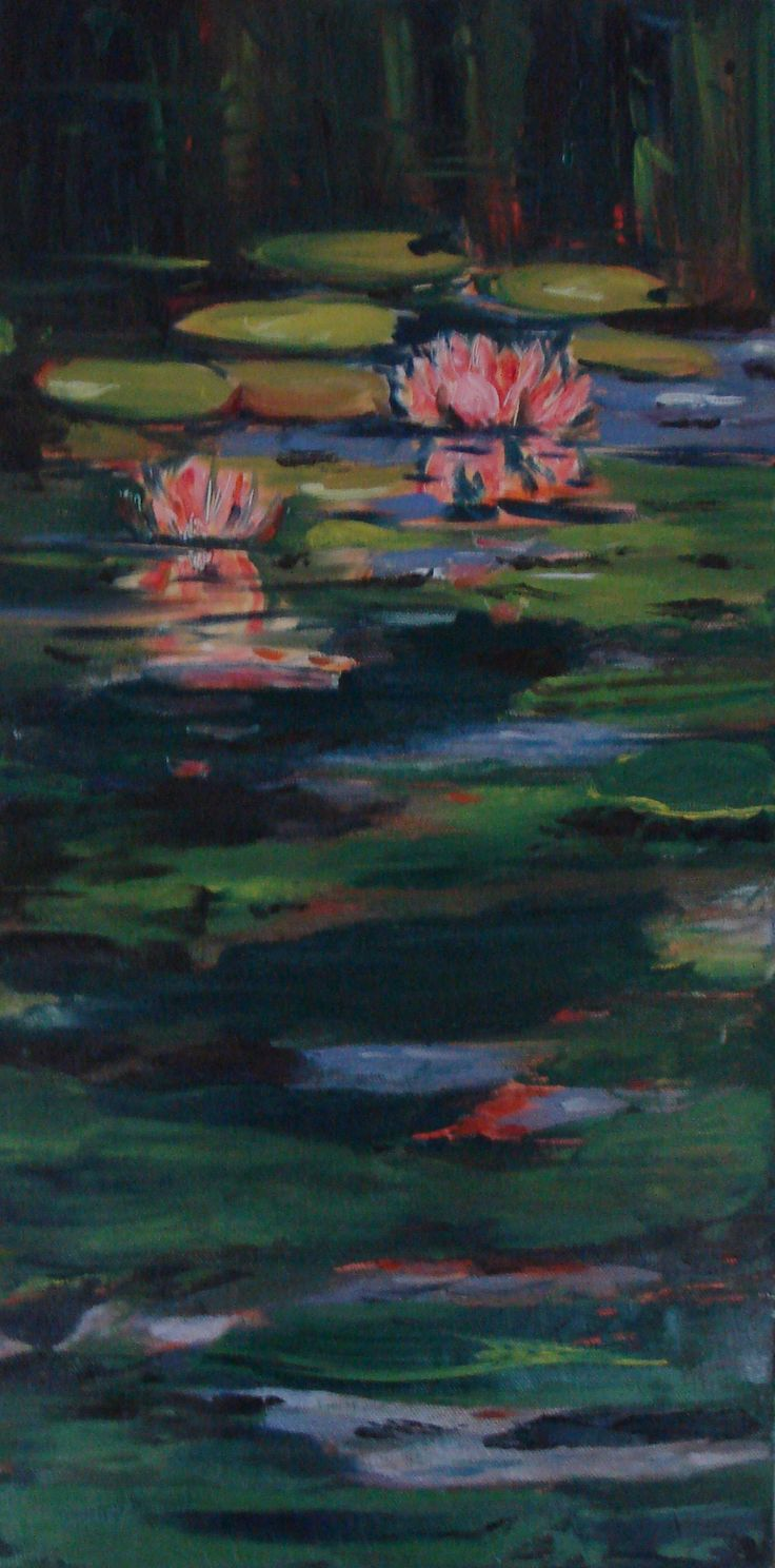 Water lily and koi - oil on board