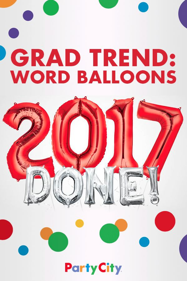 Make a statement with these on-trend word balloons. The perfect backdrop for photos, these giant foil balloons will bring extra cheer to your grad and their guests. Discover more festive grad balloons at Party City.