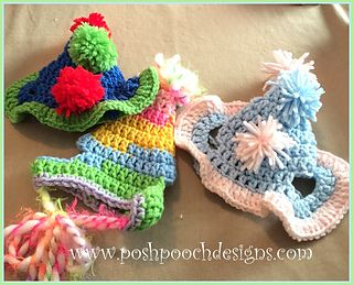 Birthday Dog Hat With Pom poms by Sara Sach