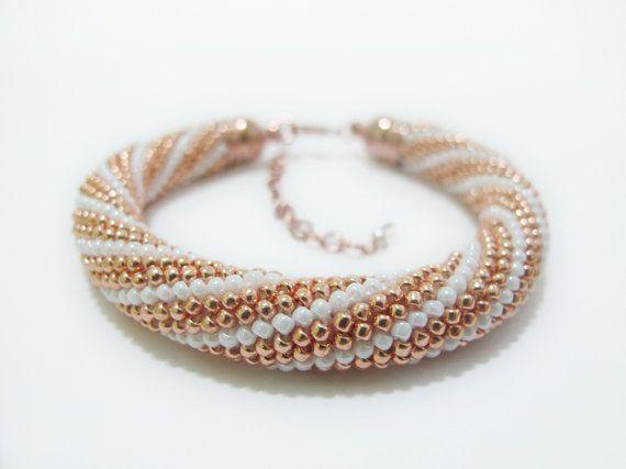 Rose Gold Beaded Crochet Bracelet elegant unique by DwarfsTreasure