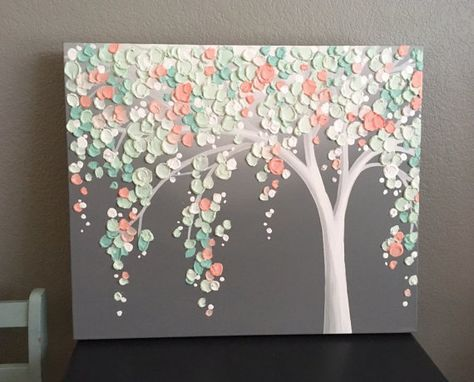 Mint Green and Peach Coral Art, Textured Tree, Nursery Art, Original Painting on Canvas, select your size