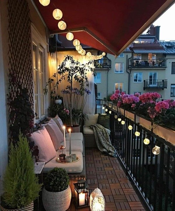 balcony design furnishing ideas balcony ideas pallet furniture decoration lamps   – Balkon