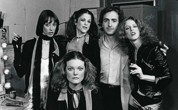 "May 14, 1977: SNL guest host Shelley Duvall with Jane Curtin, Gilda Radner, Mr. Michaels and Laraine Newman, preparing for the musical number ""Video Vixens."""