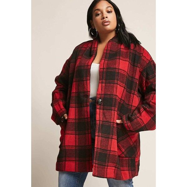 Forever21 Plus Size Open-Front Flannel Jacket ($48) ❤ liked on Polyvore featuring outerwear, jackets, flannel jacket, long sleeve jacket, woven jacket, open front jacket and red flannel jacket
