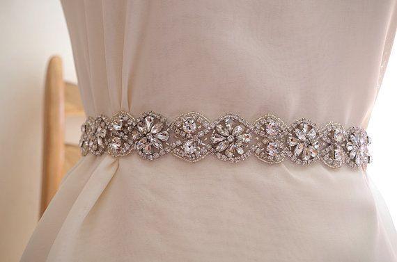 rhinestone belt, crystal sash belt, bridal sash belt trim, one yard