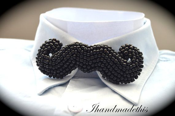 Black beaded moustache bowtie beads embroidery by Ihandmadethis