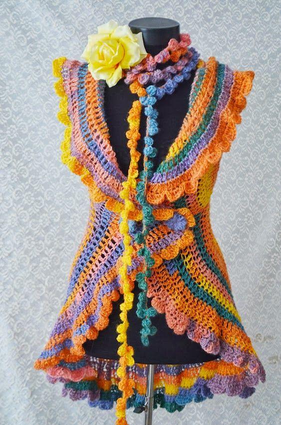 Cardigan crosetat Summer Colours (210 LEI la irinaindira.breslo.ro)