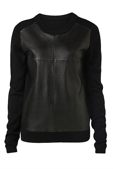 Leather Front Knit from @WITCHERY Fashion at @Kay Beaver New Zealand #sportsluxe