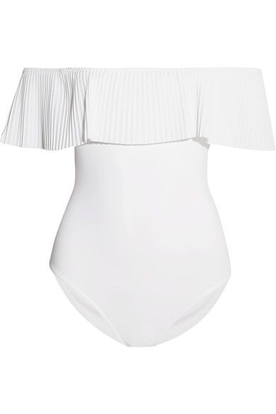 Karla Colletto sketches over 150 designs before selecting the final 75 styles that make up each collection. Cut from UPF50+ protected fabric, this 'Josephine' swimsuit is detailed with an elasticated off-the-shoulder overlay that elegantly frames your décolletage. The pristine white hue flatters sun-kissed skin.