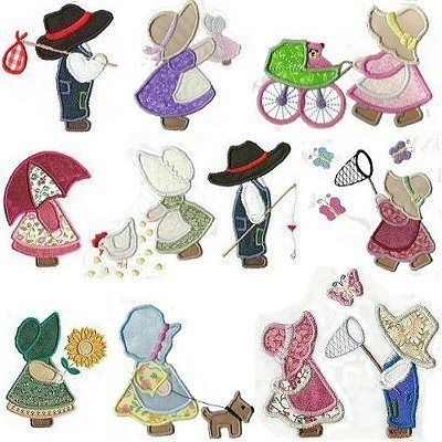 150 Applique Sunbonnet Sue And Sam Embroidery Designs
