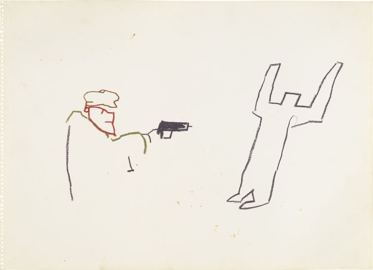 """Hands Up, Don't Shoot!"" // Jean-Michel Basquiat, Untitled (Gun), wax crayon on paper, 1981. On Auction at Sotheby's London, 18 October, 2014."