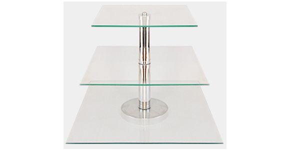 Boleira de Vidro 3 Andares -      Suporte para bolo em vidro temperado interligadas com tubos de alumínio.    Ideal para servir Brigadeiros, Beijinhos, Cupcakes, Canapés, Bolos ou que você imaginar. Vai dar um toque especial a sua mesa.        Dimensões do Produto:      TAMANHO  Prato 1 = 28 x 28 cm  Prato 2 = 36 x 36 cm  Prato 3 = 40 x 40 cm    Altura Total da Peça = 32cm        PRAZO DE ENTREGA: EM ATÉ 4 DIAS PARA PRODUÇÃO,MAIS O PRAZO DOS CORREIOS. R$ 127,05