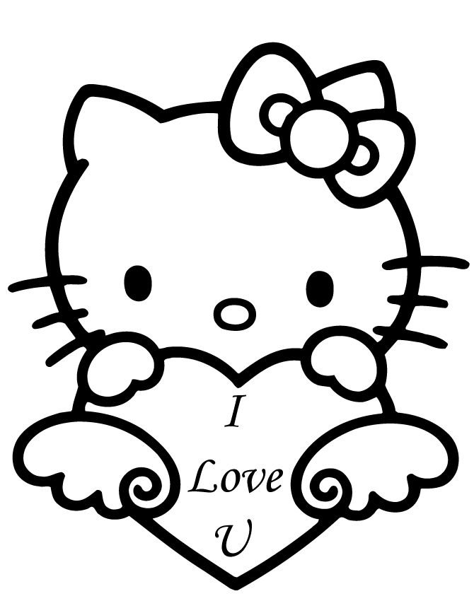 Hello Kitty Soccer Coloring Pages : Hello kitty valentine s day coloring sheets