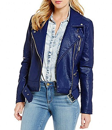William Rast Alexa Faux-Leather Buckle-Detail Zip-Front Moto Jacket