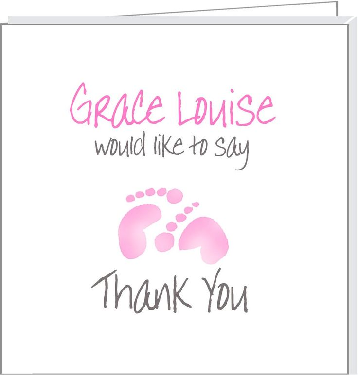Personalised thank you cards with pink footprints